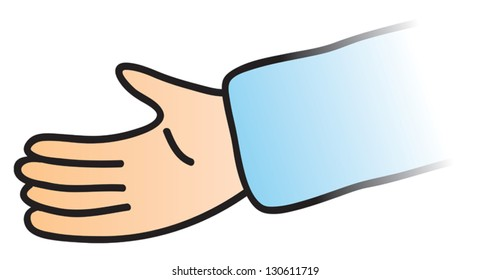 An empty hand reaching out to help or for a handshake or other gesture.