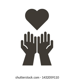 Empty hands receiving red Heart icon. Accepting love, help, kindness, donation. Vector flat glyph illustration. Symbolizes donation, help, charity, philantrophy, love, passion, kindness, peace.