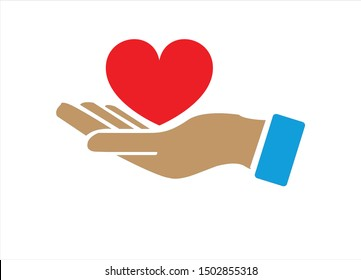 Empty hands receiving red Heart icon. Accepting love, help, kindness, donation. Vector flat glyph illustration. Symbolizes donation, help, charity, philantrophy, love, passion, kindness, peace. - eps