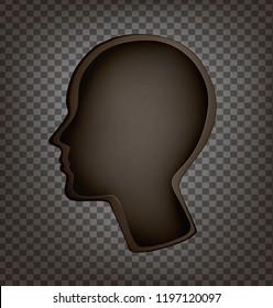 empty head,  man profile head empty inside, memory problem, amnesia, memory lost, Dying out  memories, surrealistic dream, vector