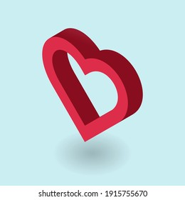 Empty heart.Vector illustration in isometric style. Simple 3d icon.