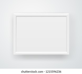 Empty horizontal A4 white frame on a wall. Vector layout
