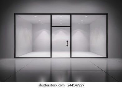 Empty illuminated store exposition interior realistic background vector illustration