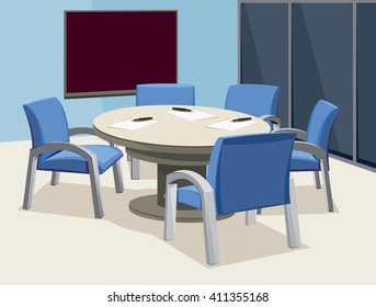 Empty interior of meeting room. Company staff training. Office with papers and blackboard. Vector cartoon simple illustration.