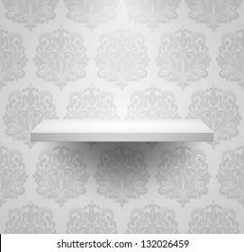 Empty isolated shelf on beautiful luxury background. Vector illustration.