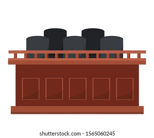 Empty jury box flat vector illustration. Tribune, juror seats with no people front view. Courthouse room, courtroom interior attribute. Civil hearing, court trial, judicial system, justice symbol