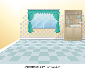 Empty kitchen interior. Floor and window with curtains.