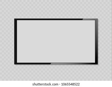 Empty LCD screen, plasma displays or TV for your monitor design.computer or black photo frame, isolated on a transparent background.Vector illustration.