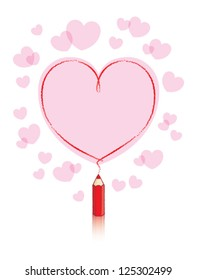 Empty Love Heart Message Drawn by Small Red Pencil with Reflection and Pink Hearts Background