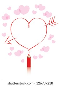Empty Love Heart Message Drawn by Small Red Pencil with Reflection and Small Pink Hearts Background