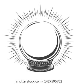 Empty magic globe. Hand drawn merry christmas snow boll, traditional winter decoration snowglobe sketch vector illustration