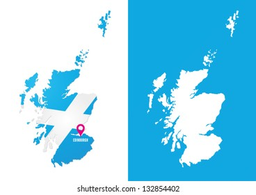 Empty map of Scotland and map with Saltire and capital city shown