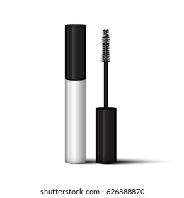 Empty mascara brush vector mock-up illustration. Realistic 3d empty silver white eyelash or eyecleaner package design. Luxury makeup cosmetic product container or tube isolated on white background.