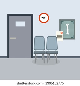 Empty Medical office. Corridor in the hospital building. X-ray of a broken leg bone. The seat and the door. Providing medical care. Health problem. Cartoon flat illustration