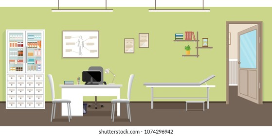 Empty medical office interior design. Doctor's consultation room in clinic. Hospital working in healthcare concept.