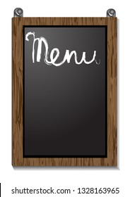 Empty menu board isolated on white background