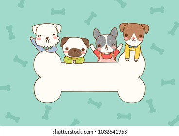 Empty message board, paper note, greeting card, poster, copy space for text with cute cartoon smiling dogs ,pug, schnauzer, french bulldog, domestic and big bone. Flat design. Vector illustration.