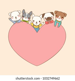 Empty message board, paper note, greeting card, poster, copy space for text with cute cartoon dogs smiling and big heart, pug, schnauzer, french bulldog, bull terrier. Flat design.Vector illustration.