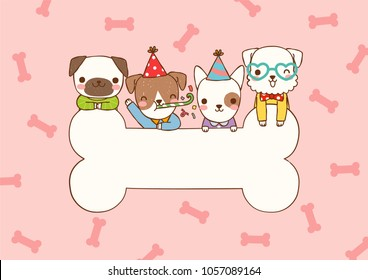 Empty message board, paper note, greeting card, poster, copy space for text with cute cartoon smiling dogs, pug, schnauzer, bull terrier, domestic and big bone. Flat design. Vector illustration.