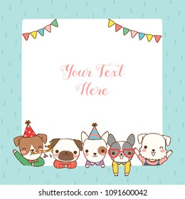 Empty message board, paper note, greeting card, poster, copy space for text with cute cartoon dogs smiling and celebrating. Flat design.Vector illustration.