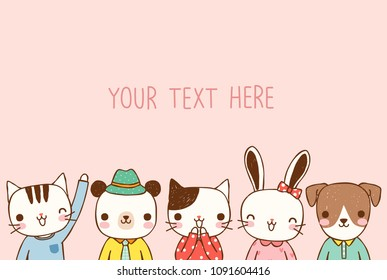 Empty message board, paper note, greeting card, poster, copy space for text with cute cartoon animals smiling. Flat design.Vector illustration.