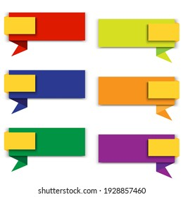 Empty message. Isolated text box. symbol collection. Speech bubble. Colorful flat vector illustration. Stock image. EPS 10.