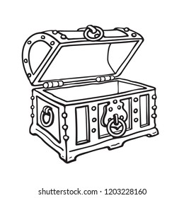 Empty metal-bound pirate treasure chest. Open old wooden trunk. Sketch style hand drawn isolated vector illustration.