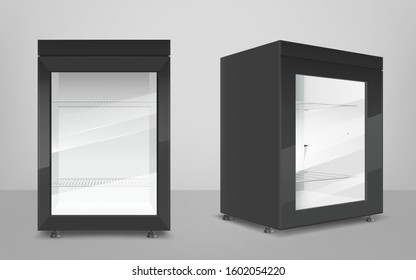 Empty mini refrigerator with transparent glass door. Vector black fridges for drink or fresh food in supermarket or kitchen. Modern cooler with shelves front and corner view