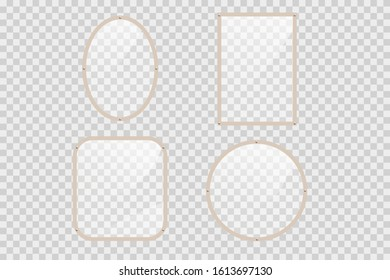 Empty mirrors with reflect in mockup style.  Realistic mirrors. Metal round and rectangular mirror frame, white mirrors template.