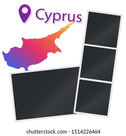 Empty mockup for photography and picture. Isolated  vector. Polaroid. Location in Cyprus. Set of photo frames for travel photos. Holidays in Cyprus. Template.