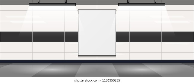 Empty mock-up vertical billboard inside subway, airport or trade mall center.
