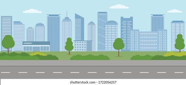 Empty modern city. City life illustration with house facades, road and other urban details.  Panoramic view. Flat style, vector illustration.