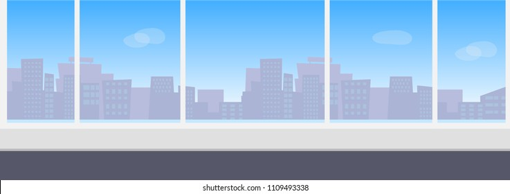 Empty modern office interior with panoramic window with city skyline view. Vector concept illustration