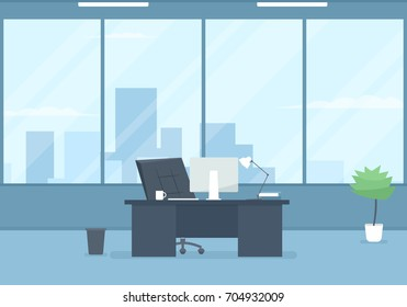 Empty modern office interior. Vector image
