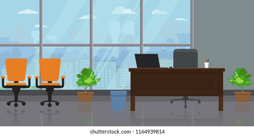 Empty modern wide office interior with large window and cityscape view. Flat and solid color Vector illustration.
