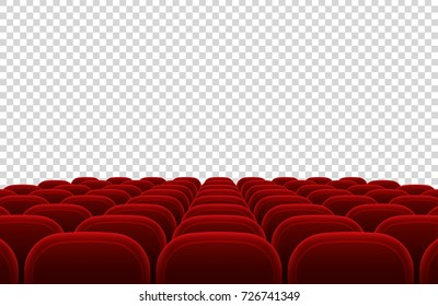 Empty movie theater auditorium with red seats. Cinema hall interior isolated vector illustration. Interior auditorium hall theater and cinema with red seat
