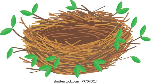 empty nest with branches and leaves