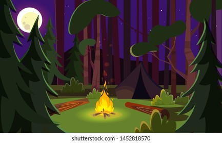 Empty night campsite flat vector illustration. Pines and trees in evening forest. Campfire and tourists in wilderness area. Active tourism, hiking, holiday on nature. Travelers, backpackers campground