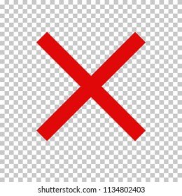 Empty NO symbol, prohibition or forbidden sign (or check mark); red cross. Vector icon isolated on transparent background.