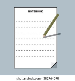 Empty notebook with pencil
