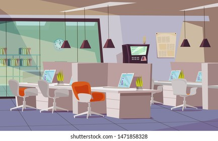 Empty office flat vector illustration. Coworking workspace interior design. Employees workplace, open office. Workers desks with rolling chairs. Laptops and potted plants on tables cartoon drawing