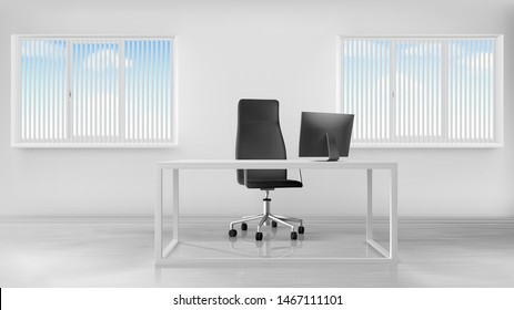 Empty office room interior, workplace with desk, turning seat and computer on table, inner design in white colors, windows covered with jalousie, boss working place. Realistic 3d vector illustration