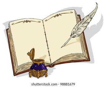 Empty Old Book and  Old Writing Tools - Vector Illustration