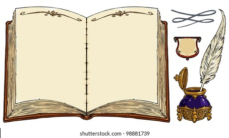 Empty Old Book, Old Writing Tools, Decorative Frames - Clip art