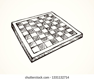 Empty old chess  board Dark line ink hand drawn winner hobby move mate toy logo pictogram in vintage art doodle cartoon vector style. Closeup surface plan view