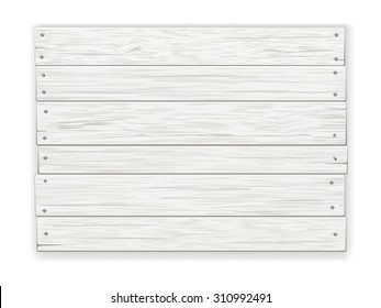 Empty old white rustic wooden sign, nailed, with shadow. Realistic vector illustration.