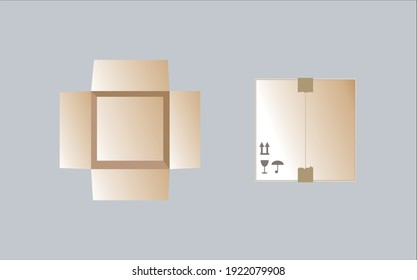 Empty open and closed cardboard boxes Isolated on background Vector illustration.