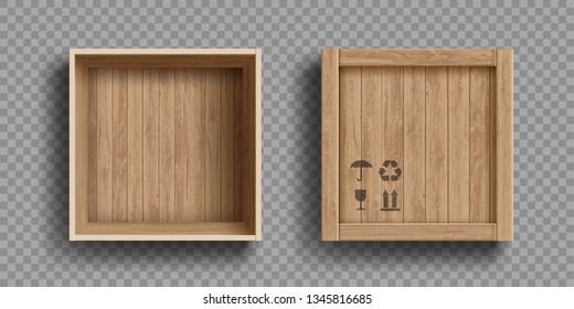 Leere offene und geschlossene Holzschachtel. Einzeln auf transparentem Hintergrund. Vektorgrafik.