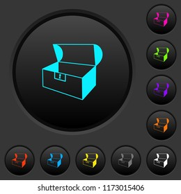 Empty open coffer dark push buttons with vivid color icons on dark grey background