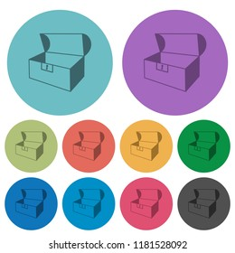 Empty open coffer darker flat icons on color round background
